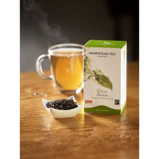 Hampstead | Clean Green Tea - herbata zielona (saszetki) 40g | ORGANIC - FAIRTRADE